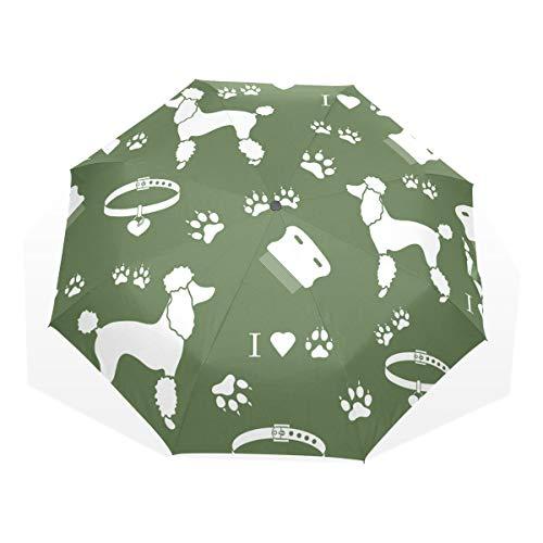 EZIOLY Poodle Peine Collar Perro Pista Verde Viaje Paraguas Ligero Anti UV Sun Rain Umbrella para Hombre Mujer Niños Resistente al Viento Plegable Compact Umbrellas