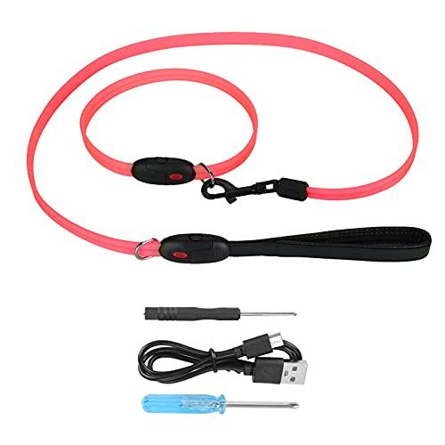 YIHEXUANkeji Correas de collares LED con iluminación de 360 grados con 3 modos de parpadeo LED, ligero, resistente y duradero correa para collar para caminar (S-rojo)