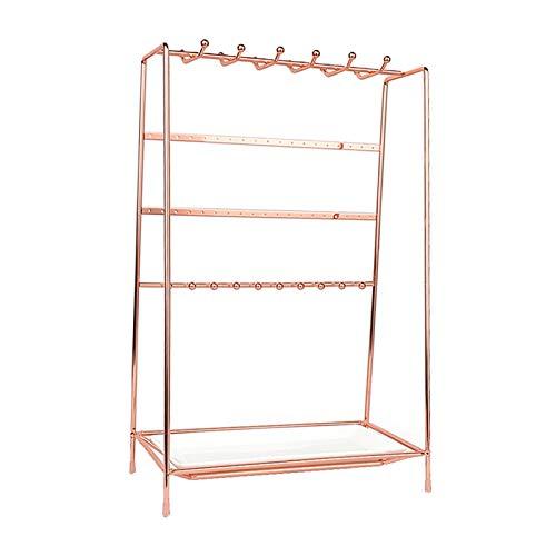 #N/a Organizador Multiusos Del Pendiente Del Soporte de Exhibición de La Joyería Del Hierro Del Metal - Oro rosa, tal como se describe