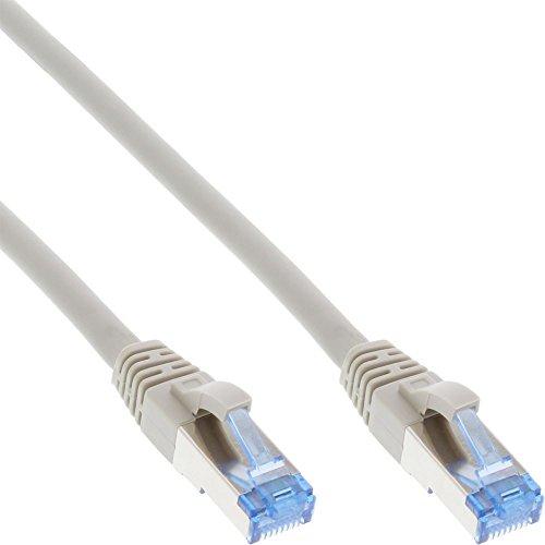 InLine 76800 Patchkabel, S/FTP (PiMf), Cat.6A, 500MHz, halogenfrei, Kupfer, grau, 10m