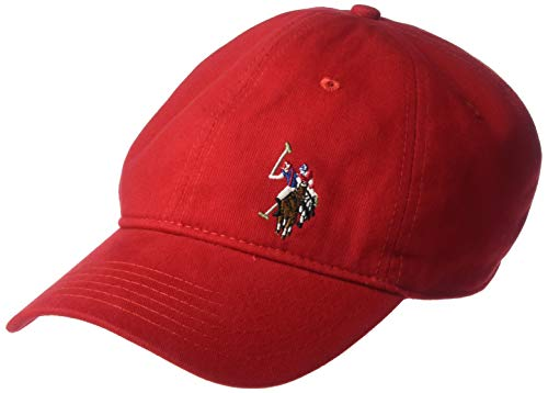 Concept One US Polo Assn. Men's Washed Twill Cotton Adjustable Baseball Cap with Curved Brim and Embroidered Horse Front, Red, One Size