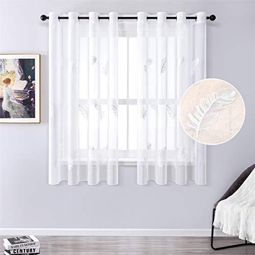 MRTREES Gardine aus Voile Vorhang Blumen Vorhänge mit Ösen Gardinenschals in Leinenoptik Gardinen kurz Stickerei Weiß 145×140cm (H × B) für Wohnzimmer Schlafzimmer Kinderzimmer 2er-Set