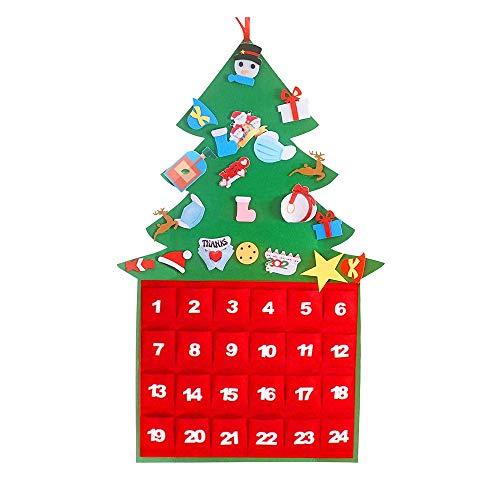 Christmas Advent Calendar 2020,DIY Epidemic Prevention Calendar Xmas Ornaments 24 Days Countdown Detachable Felt Christmas Tree New Year Holiday Decoration Indoor Home Wooden Wall & Door Decoration