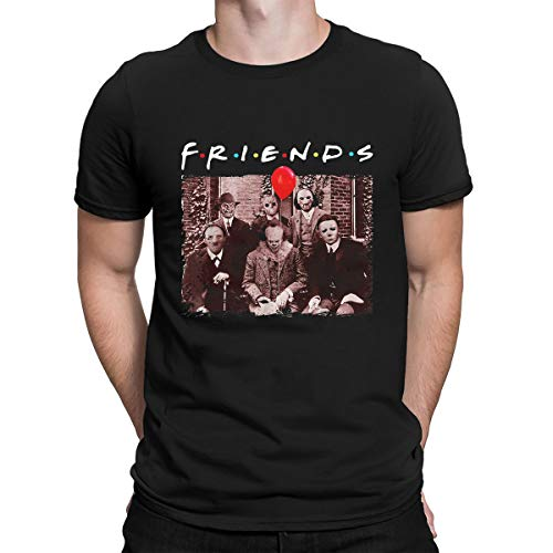 Horror Friends Halloween Shirts for Men Horror Movies Funny Top Tee (XXL, Black Men)