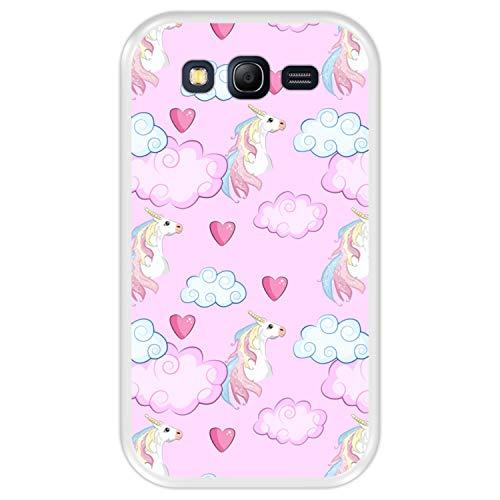 Hapdey Funda Transparente para [ Samsung Galaxy Grand Lite - Grand Neo - Neo Plus ] diseño [ Soñando con Unicornios ] Carcasa Silicona Flexible TPU