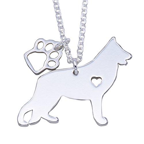 Melix Animal Labrador Pitbull Husky Alaskan Akita Boxer Corgi Dackel Hunde Golden Retriever Edelstahl Silber glänzende Pet Hund Doggy Anhänger Halskette Geschenk