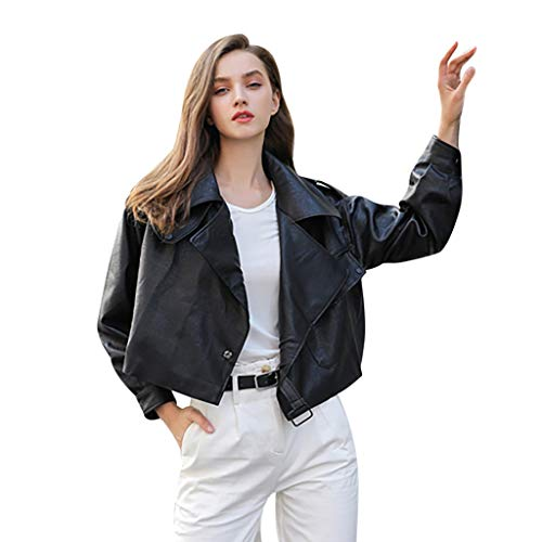 BBring Damen Kurze Lederjacke, Lackleder Crop Bauchfreies Revers Jacke Knopfleiste Streetwear Mantel Herbst Langarm Bluse Winter Sweatshirt (XL, Schwarz)