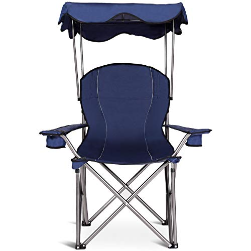 Goplus Folding Beach Chair w/Canopy Heavy Duty Camping Chair Durable Outdoor Seat w/Cup Holder and Carry Bag (Blue)
