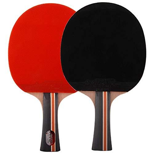 Lerten Palas de Ping Pong,Raquetas de Tenis de Mesa 4 Estrellas Mango CóModo para Actividades Familiares Escuela Y Club Deportivo,2 Piezas/A/mango largo