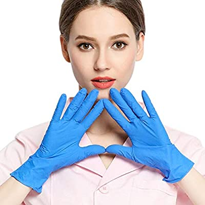 100 pcs Latex Rubber Free Gloves Nitrile Disposable Gloves, Food Grade Gloves for Nail art, Painting,Finishing,Cleaning,Safety Work (Blue M size)