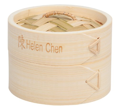 Helen's Asian Kitchen Bamboo Dim Sum Food Steamer with Lid, 4-Inch,...