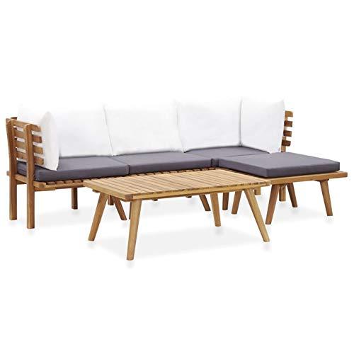 Tidyard Set 5 Pezzi Salotto da Esterno con Cuscini in Legno Massello di Acacia,con Tavolino,Set Divani Modulari da Giardino,Set di Tavolo da Pranzo Esterno