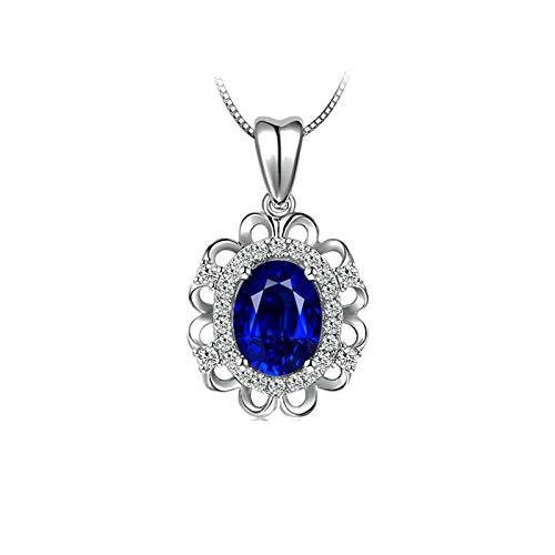 Bishilin Collar Compromiso Oro Blanco 750 Clásico Collar Colgante Azul Zafiro Diamante Collar para Mujeres Niña Ajuste Cómodo Oval Flor Joyería Elegante para Cumpleaños Navidad Año Nuevo Oro Blanco