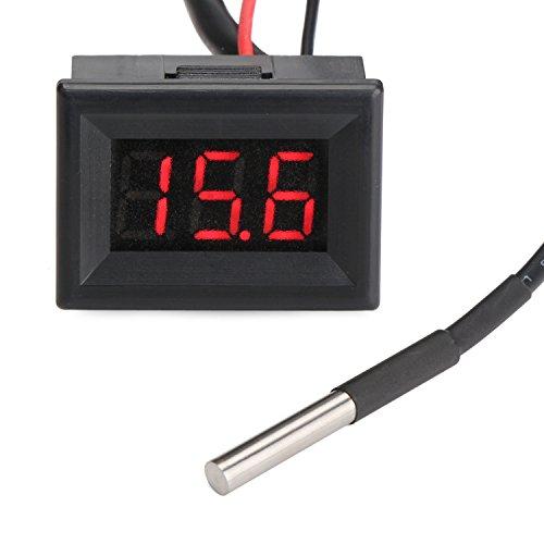 Droking Digital-Thermometer Elektronische Temperaturüberwachung -55-125 ℃ LED-Anzeige Temperatur-Monitor mit langem Sonden-Sensor Tragbares helles Taschen-Temperatur-Test-Maß-Meter-Messgerät-Gerät Rot