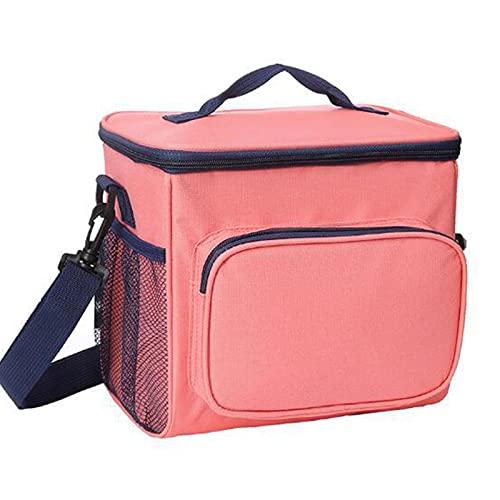 TKMON Bolsa térmica para el almuerzo, bolsa térmica reutilizable y caliente para oficina, escuela, picnic, camping, barbacoa, senderismo, viajes, pesca y playa, color rosa