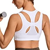 SYROKAN Women's Workout Sports Bra High Impact Support Bounce Control Wirefree Mesh Racerback Top White M