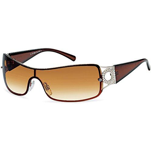 Sonnenbrille Monoscheiben Brille Damen Herren Sonnenbrillen Retro B551 Braun