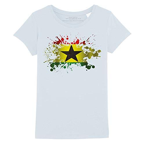 Stuff4 Meisjes T-Shirt/Ghana/Ghanese Vlag Splat/Ronde hals Casual Korte mouw 100% Organisch Katoen
