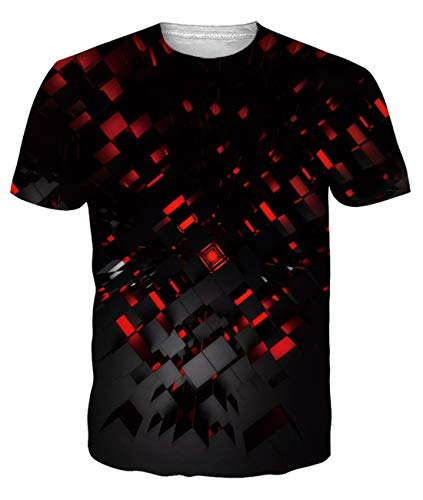 uideazone Camiseta de manga corta para hombre con impresión 3D, deportiva, cuello redondo, estampada, desenfadada, talla XXL, rojo (Rota)