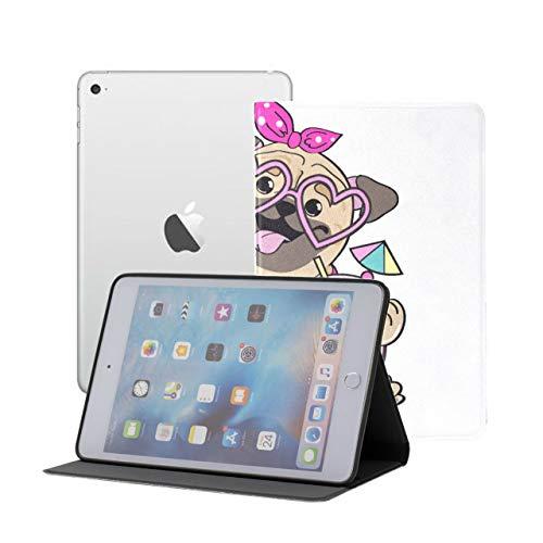 Ipad Mini 1 2 3 Case,slim Lightweight Stand Smart Back Case For Ipad Mini, Mini 2, Mini 3 With Auto Sleep/wake, Cute Pug Dog Circle Flamingos On