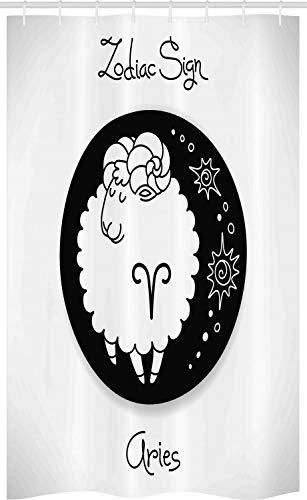 ABAKUHAUS Ram van de dierenriem Douchegordijn, Grappige Ram in een Dot, voor Douchecabine Stoffen Badkamer Decoratie Set met Ophangringen, 120 x 180 cm, Zwart en wit