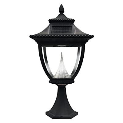 Gama Sonic GS-104 Pagoda Post Lamp, Outdoor Solar Light Fixture, Bright White LED, Black