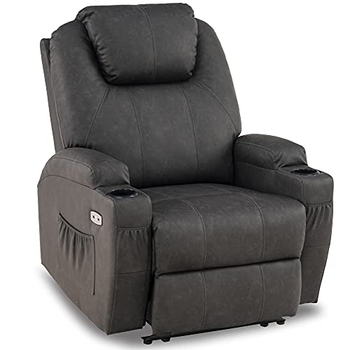 Mcombo Electric Power Recliner Chair with Massage and Heat, 2 Positions, USB Charge Ports, 2 Side Pockets and Cup Holders, Faux Leather 7050 (Not Lift Chair) (Grey)