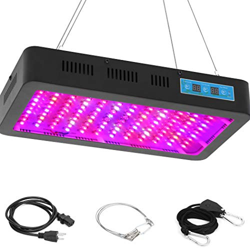 Tektalk Plant Grow Light 1200W with 120 Double Chips LED Lights Full Spectrum Timing Three Light Modes Veg&Bloom and Three High Speed Silent Fans Daisy Chain Function