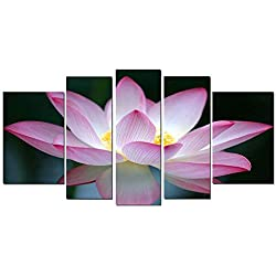 Startonight Glass Wall Art Acrylic Decor Pink Flower, and a Contemporary Clock Set of Set of 5 Total 35.43 X 70.87 Inch 100% Original Artwork the Ultimate Wall Art