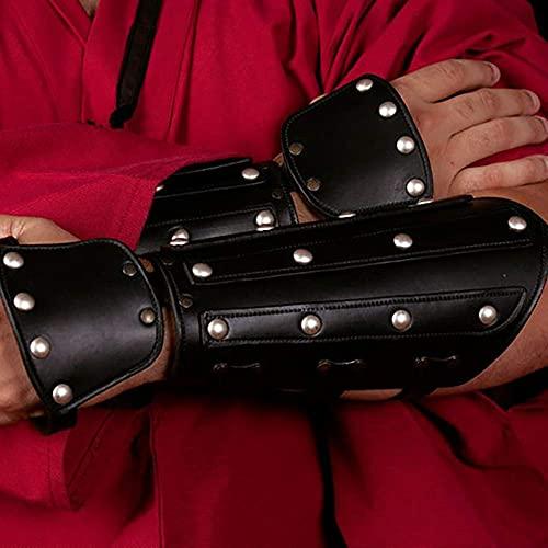 SKSNB 1 par de brazaletes de Cuero Medievales con puños Anchos, Guantes de Armadura Unisex de Renaissance Knights, Pulsera de guantelete Retro Steampunk de Arquero