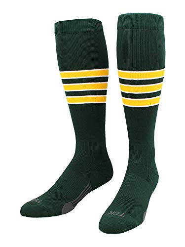 TCK Performance Baseball/Softball Socks (Dark Green/White/Gold, Small) - Dark Green/White/Gold,Small
