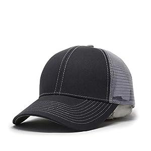 1865eaab00b Vintage Year Plain Cotton Twill Mesh Adjustable Trucker Baseball Cap  (CharcoalGray CharcoalGray Gray