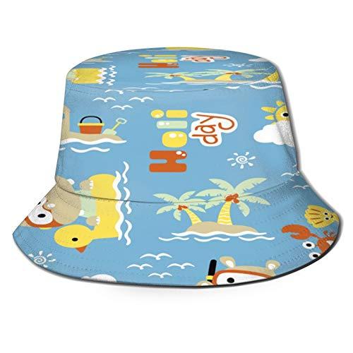 TTLUCKY Sombrero de Pesca,Hipopótamo de Patrones sin Fisuras en Pato Nadar,Senderismo para Hombres y Mujeres al Aire Libre Sombrero de Cubo Sombrero para el Sol