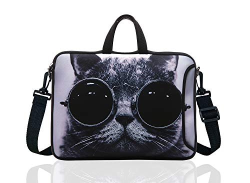 14 Inch Neoprene Laptop Sleeve Case Bag with shoulder strap For 14' Notebook/MacBook/Ultrabook/Chromebook (Grey cat with sunglasses)