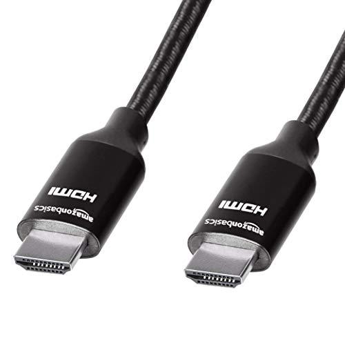 Amazon Basics Geflochtenes Hochgeschwindigkeits-HDMI-Kabel, Schwarz, 3 m