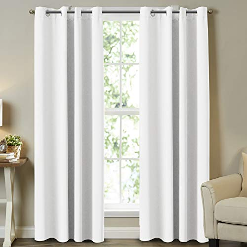 """Room Darkening Curtain Panels Pure White Curtains Window Treatment Energy Saving Thermal Insulated Solid Grommet Room Darkening Drapes for Bedroom/Nursery, Pure White, 2 Panels, 52"""" W x 84"""" L"""