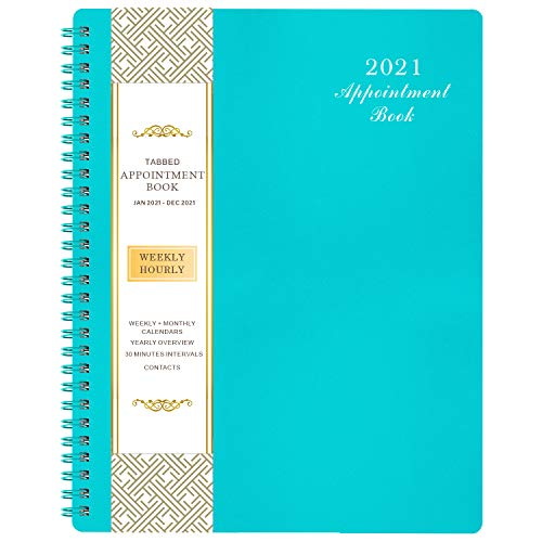 2021 Weekly Appointment Book & Planner - 2021 Daily Hourly Planner with Twin-Wire Binding, 8' x 10', Jan 2021 - Dec 2021, 30-Minute Interval, Lay -...