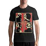 Daft Punk Logo Men's Basic Short Sleeve Music tee Black,Camisetas y Tops(Large)