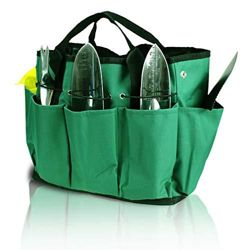 GERYMU Aufbewahrungstasche für Gartenwerkzeuge, mit Taschen, Gartentasche, Leinwand, Gartengeschenke, für Damen, Zubehör, Set grün