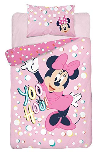 Parure de lit Bébé Minnie Rose 100% Coton - Housse de Couette Bébé 100x135 cm + Taie d'Oreiller 40x60 cm