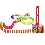 Wellin 140 pcs Domino Train Toy Mega Pack Dominoes for 3-12 Years Old Boys Building Blocks Stacking Tile Games 60pcs + Extra 80pcs Domino Blocks (140 pcs Domino Train)