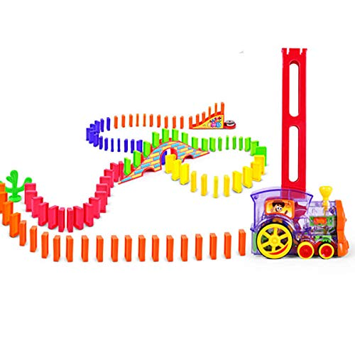 Wellin 140 pcs Domino Train Toy Mega Pack Dominoes for 312 Years Old Boys Building Blocks Stacking Tile Games 60pcs  Extra 80pcs Domino Blocks 140 pcs Domino Train