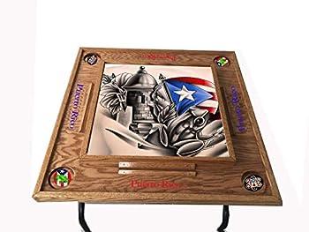 latinos r us Puerto Rico Domino Table Símbolos Bóricua  Dark Walnut