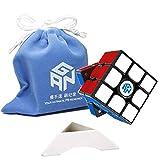 FunnyGoo Ganspuzzle GAN356XS GAN356 X S Potente GMS v2 GES Pro Sistema de Doble Elasticidad 3x3 GAN 356 X S 356 XS Magic Puzzle Cube Speed Cube + One Cube Bag y un Soporte (Black Negro)