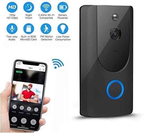L.TSA Videoportero inalámbrico Videoportero inalámbrico, aplicación Inteligente WiFi Conversación remota con detección de Movimiento Visión Nocturna por Infrarrojos Adecuado para Villa/Hog