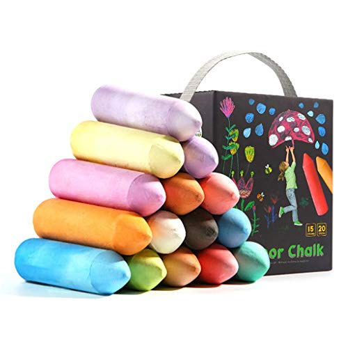 fine_fine 20 PCS Colorful Chalk, DIY Children Family Painting Chalk, for Outdoor Chalk Block, Art and Home Board Chalk (White)