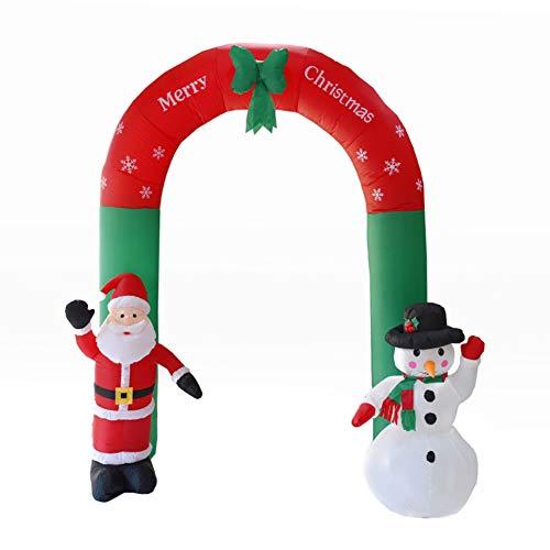 UEB Arco Gonfiabile Natale con Babbo Natale e Pupazzo di Neve Ornamenti di Natale da Esterno Decorazione per Ingresso a Casa o al Negozio 2.4M