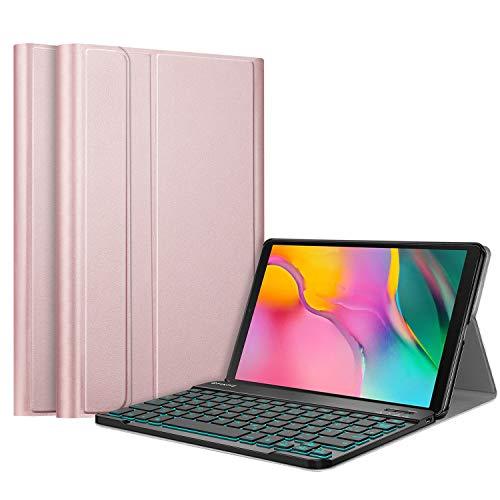 Fintie Tastatur Hülle für Samsung Galaxy Tab A 10.1 2019 SM-T510/T515 - Schutzhülle mit [Hintergr&beleuchtung in 7 Farben] magnetisch Abnehmbarer drahtloser Deutscher Bluetooth Tastatur, Roségold