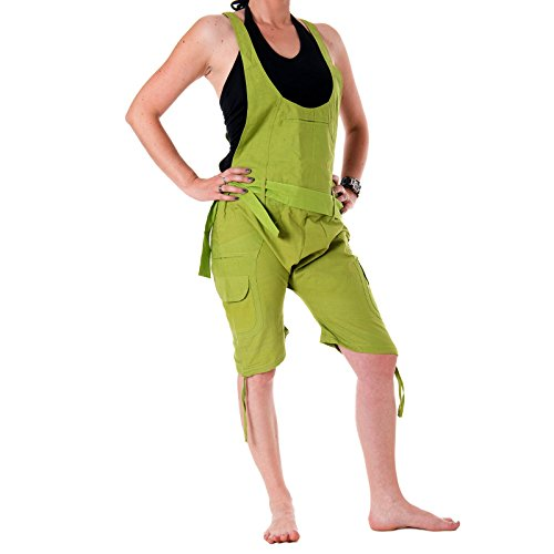 Vishes – Alternative Bekleidung – Kurze Harems-Latzhose aus Baumwolle Hellgrün einfarbig 46