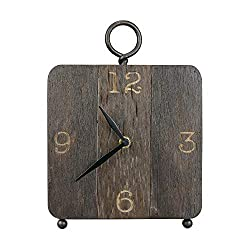NIKKY HOME 7 x 10 Antique Wooden Table Desk Clock with Handle